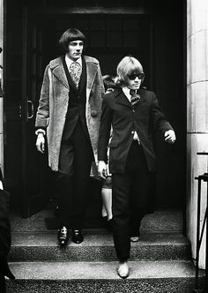 Rolling Stones Brian Jones, right, and Swiss entertainer Prince Stanislas Klossowski de Rola, Baron de Watteville, in London on May 11, 1967. Earlier the two were remanded on bail until June 2, after appearing at a London Magistrates Court charged with being in possession of dangerous drugs, 50 grains of cannabis resin. (AP Photo)