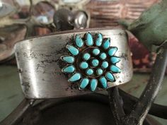 Vintage turquoise leather bracelet cuff  Boho by slashKnots