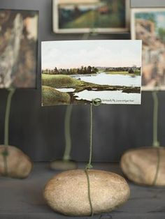 rocks for photo exhibition...Yay for no frames needed!