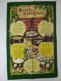 Vintage Irish Recipe Kitchen Tea Towel // by lostnfounddrygoods, $18.00