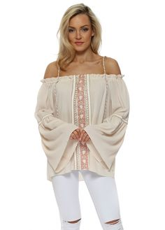 JUST M PARIS Smoke Nude Embroidered Panel Cold Shoulder Top