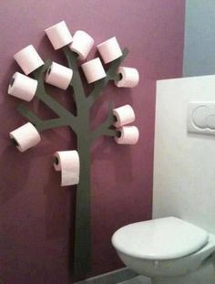 Toilet paper tree for kids bathroom. Lol they'd have the bathroom looking like it was Halloween all year I can picture toilet paper streamers everywhere! Toilet Paper Trees, Toilet Paper Holder Tree, Unique Toilet Paper Holder, Toilet Paper Humor, Toilet Paper Storage, Deco Originale, Home And Deco, Home Organization, Home Projects