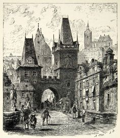 Charles Bridge, Prague (1906 Engraving) Charles Bridge, Medieval Houses, Perspective Art, Wargaming Terrain, Architecture Drawings, Central Europe, Painting Edges, Outlines, Cityscapes