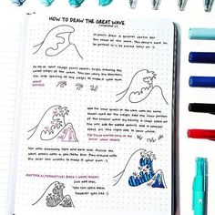 Wow I think this is one of my favourite step by steps so far!!  How to draw the Great Wave off Kanagawa  by @bulletbycait  #notebooktherapy - Find all of our notebooks and more on our store (link in bio) - #bulletjournal #bulletjournallove #hobonichi #doodleart #thegreatwaveoffkanagawa #bujo #bujoideas #bujoinspiration #bujoweeklyspread #bujomonthly #stationeryaddict #stationerylove #bulletjournaling