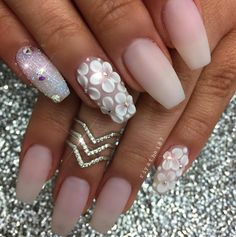 Best Nail Art Ideas for Brides - Matte Nude and Floral Bling - Simpe, Cute, DIY NailArt Tutorials That Are Step By Step For Brides. Everything From The Wedding Manicure To French Tips To Simple Sparkle and Bling For The Ring Finger. These Are Super Fun And Super Easy. - https://thegoddess.com/nail-art-ideas-for-brides