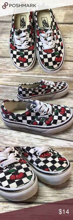 Vans Cherry Checkerboard Shoes Checkerboard and cherries Lace up Vans. GUC for wear to logos and toe rubbers. See photos. Vans Shoes Sneakers