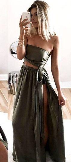 Khaki Silk Two Pieces Maxi  Dress @roressclothes closet ideas #women fashion outfit #clothing style apparel