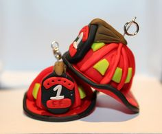 Polymer Clay Firefighter Helmet Keychain by Marcellanise on Etsy, $7.00