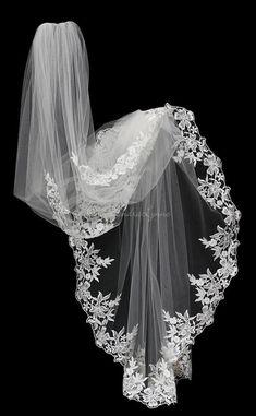 Ivory Venice Lace Floor Length Veil with Pearls - Cassandra Lynne Bride Tiara, Bride Veil, Wedding Dress With Veil, Wedding Veils, Wedding Dresses, Bridesmaid Dresses, Bridal Veils And Headpieces, Lace Veils, Bride Hairstyles With Veil