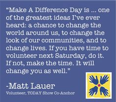 Make a Difference Day is next weekend! Will you make the time to volunteer?