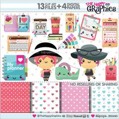 Planner Clipart Planner Graphics COMMERCIAL by TheHappyGraphics