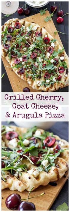 Grilled Cherry, Goat Cheese, and Arugula Pizza: grilled pizza is perfect for summer and this cherry  and goat cheese combination is delicious.