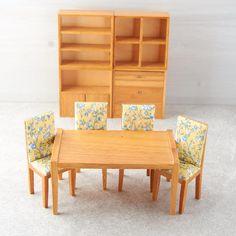 Dollhouse Miniature Mid-Century Modern Dining Room Set