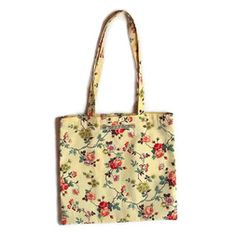 Handmade retro rosebud fabric tote bag book bag - Personal Space Interiors - beautifully handcrafted home furnishings Designer Inspired Handbags, Designer Handbags Online, Fabric Tote Bags, Reusable Tote Bags, Contemporary Cushions, Small Tote Bags, Handcrafted Jewelry, Handmade, Vintage Gifts