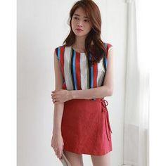 #AdoreWe #YesStyle NIPONJJUYA Sleeveless Stripe Top - AdoreWe.com