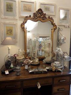 specchio dipinto in oro e rame