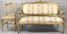 Lot 330: Louis XVI Style Sofa & Chair