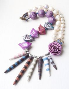 Bird rose spikey necklace pearl necklace flower by ButtonedUpBeads