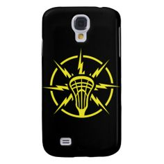 High Voltage lacrosse Galaxy S4 Case. Danger! High voltage lacrosse player. Cool superhero style emblem of lacrosse stick head with lightning bolts shooting out from all sides.