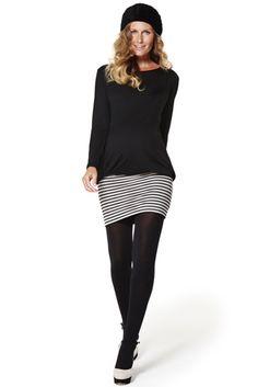 Pichi Alba Bi, vestido corto premama de punto con manga larga y falda en raya multicolor.