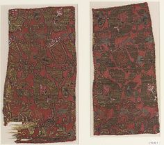 Fragments Date: 15th century Geography: Spain, Granada Culture: Islamic Medium: Silk, metal-wrapped thread; lampas Accession Number: 15.49.1a, b