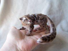 Ooak Miniature Dollhouse Marbled cat - wild cat by Malga #Unbranded