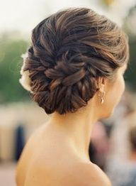 updo for wedding spiral curls | Gorgeous Pinned Back Woven Updo