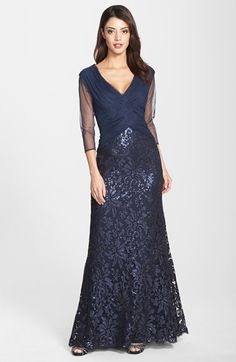 Tadashi Shoji Sequin Lace Gown (Regular & Petite) available at #Nordstrom /// Numbered Sizes (ALL Available) - Not available to try on - call and get it transferred to Town Center??