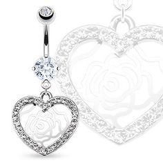 Bauchnabel Piercing mit Kristall Herz