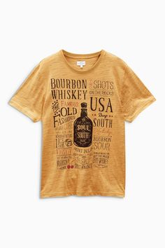 Buy Yellow Whiskey T-Shirt from the Next UK online shop