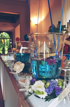 blue water and flowers - bought -