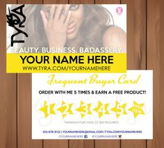 Tyra Beauty  Frequent Buyer Cards  Printed by MyCrazyDesigns