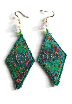 EMBROIDERED TEXTILE EARRINGS  Jewelry  Diamond  by HeketDesigns, $13.50