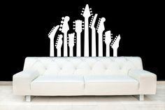 Guitar Necks - Vinyl Wall Art Decal. $38.00, via Etsy.