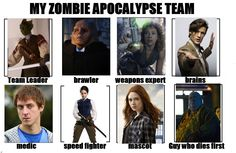 """My Zombie Apocalypse Team based on the companions of the Eleventh Doctor from the show """"Doctor Who."""" - Team Leader: Madame Vastra - Brawler: Commander Strax - Weapons Expert: River Song - Brains: Eleventh Doctor - Medic: Rory Williams - Speed Fighter: Jenny Flint - Mascot: Amy Pond - Guy who dies first: Dorium Maldovar"""