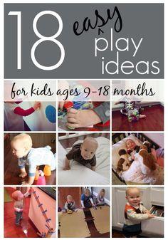 18 Easy Play Ideas for Kids Ages 9-18 months // 18 sencillas ideas de juegos para niños de 9 a 18 meses