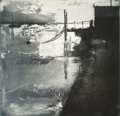 Artist Stephen Robson Print titled 'Spring Tide, Wells etching' Etching and monoprint, Plate size 25 x 25 cms paper 50 x 58 cms approx. Variable edition of 30