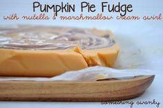 pumpkin pie fudge with nutella and marshmallow cream swirl