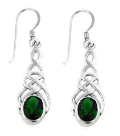 Sterling Silver Celtic Knot Sparkling Emerald Green Earrings at Francesca Fine Jewelry. Beautiful Celtic jewelry!