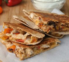 Fajita Chicken and Vegetable Quesadillas Recipe - RecipeChart.com