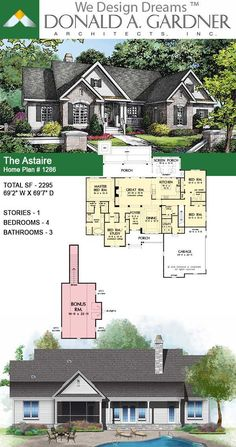 The Astaire - House Plan 1286 Vintage House Plans, Barn House Plans, Ranch House Plans, New House Plans, Dream House Plans, Small House Plans, The Plan, How To Plan, House Designs In Kenya