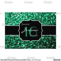 Beautiful Emerald Green sparkles Sweet 16 Invitations by #PLdesign #SparklesInvite #Sweet16