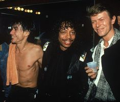️Iggy Pop, Rick James, & David Bowie, 1986.