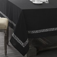 Elegant Black Tablecloth With Silver Print. Only at www.pandadeals.co.uk