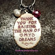 Thank You For Raising The Man Of My Dreams w/ 2 Birth Stones And Colored Lettering Mother In Law Gifts, Mothers Day Presents, 2nd Birth, Prince Charming, The Man, Raising, Birth Stones, Make It Yourself, Christmas Ornaments