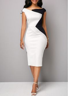 Zipper Back Boat Neck Color Block Sheath Dress   Rosewe.com - USD $32.089600000000004