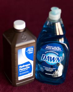 Carpet and Uphostery stain remover - Mix equal parts of each Hydrogen Peroxide and Dawn Dishwashing Liquid