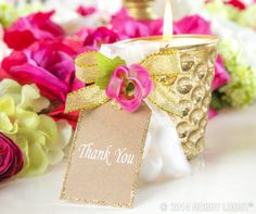 "Give your shower hostess a beautiful keepsake embellished with a glittery ""thank you"" tag."