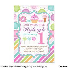 Cupcake Invitations, Sweet 16 Invitations, 1st Birthday Invitations, Create Your Own Invitations, Zazzle Invitations, Birthday Candy, First Birthday Parties, First Birthdays, Birthday Ideas