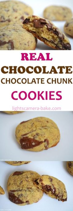 Real Chocolate Chocolate Chunk Cookies. Thick and chewy with big chunks of real chocolate throughout. A winner chocolate chip cookie.